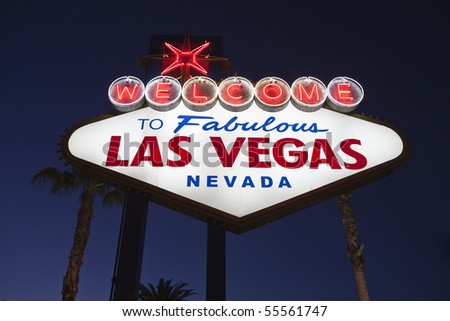 Welcome to Fabulous Las Vegas Nevada road sign. - stock photo