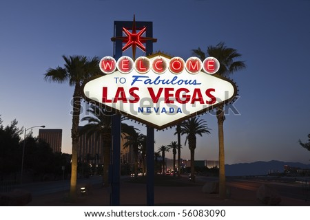 Welcome to Fabulous Las Vegas Nevada road sign at night - stock photo