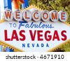 Welcome to Fabulous Las Vegas Nevada sign at the beginning of the strip. - stock photo