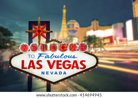 Welcome to fabulous Las vegas Nevada sign with blur strip road background - stock photo