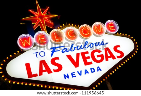 Welcome to fabulous Las Vegas sign at night - stock photo