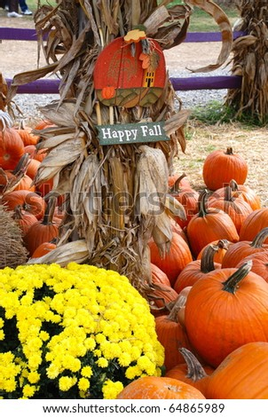 Welcome to Fall festive outdoor arrangement. - stock photo