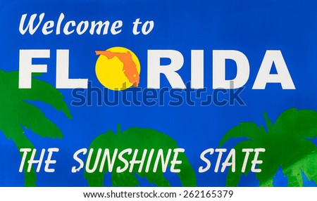 Welcome to Florida road sign - stock photo