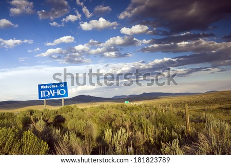 Welcome to Idaho sign taken late afternoon - stock photo