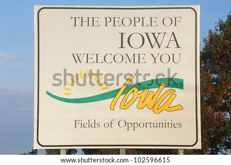 Welcome to Iowa Sign - stock photo