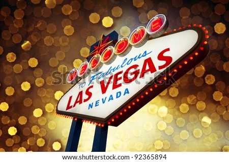 Welcome To Las Vegas neon sign at night - stock photo