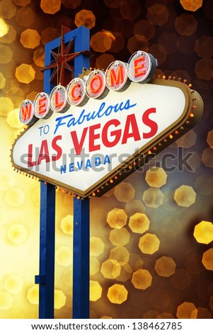 Welcome To Las Vegas neon sign at night.  Nevada, USA - stock photo
