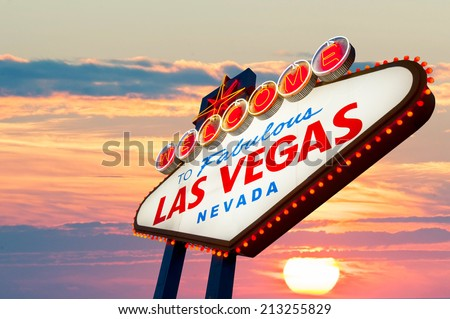 Welcome to Las Vegas neon sign at sunset