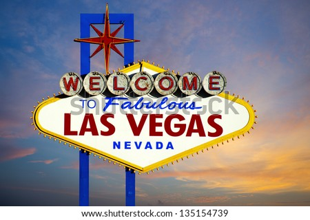 Welcome to Las Vegas Sign at sunset - stock photo