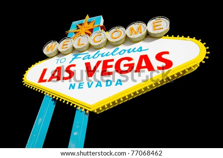 Welcome to Las Vegas sign at twilight - stock photo