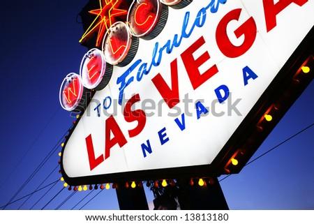 Welcome to Las Vegas sign close-up. Las Vegas, Nevada, USA - stock photo