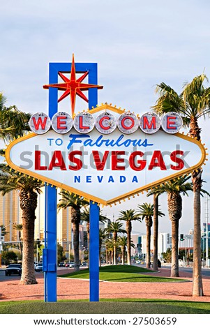 Welcome to Las Vegas sign - iconic sign on the strip in Las Vegas, Nevada - stock photo