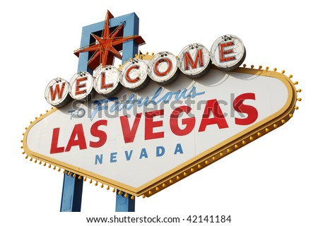 Welcome to Las Vegas sign isolated over white background - stock photo