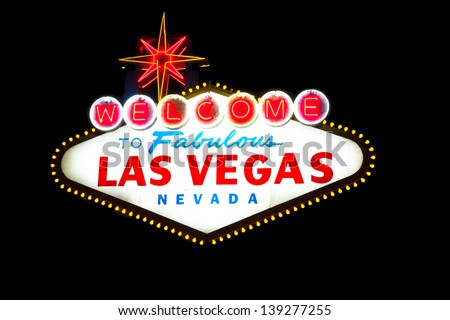 Welcome to Las Vegas sign on black - stock photo