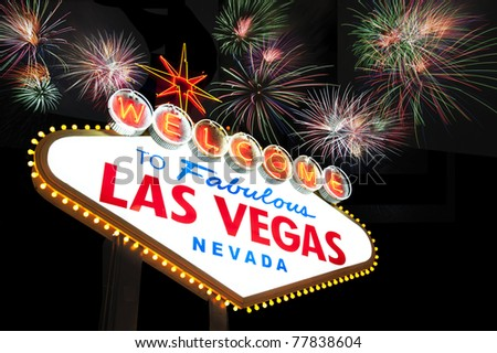 Welcome to Las Vegas Sign with firework in the background - stock photo