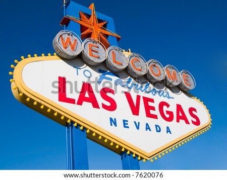 Welcome to Las Vegas, street sign in blue sky - stock photo