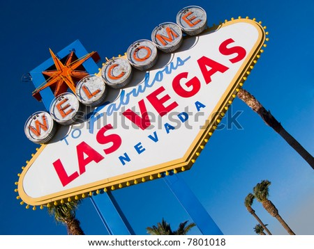 Welcome to Las Vegas, street sign in blue sky
