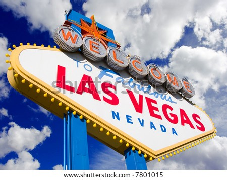 Welcome to Las Vegas, street sign in blue sky with clouds