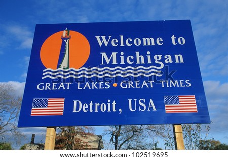 Welcome to Michigan Sign - stock photo