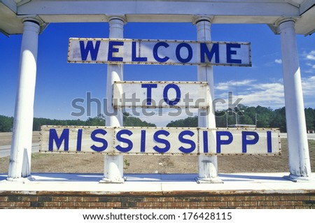 Welcome to Mississippi Sign - stock photo