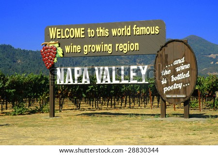 Welcome to Napa Valley California - stock photo