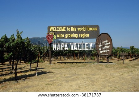 welcome to Napa Valley California sign - stock photo