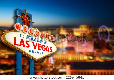 Welcome to Never Sleep city Las Vegas, Nevada Sign with the heart of Las Vegas scene in the background. (all logo had been removed).  - stock photo