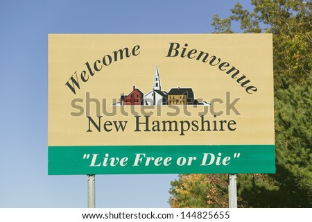 Welcome to New Hampshire state road sign - stock photo