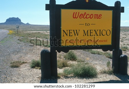 Welcome to New Mexico Sign - stock photo