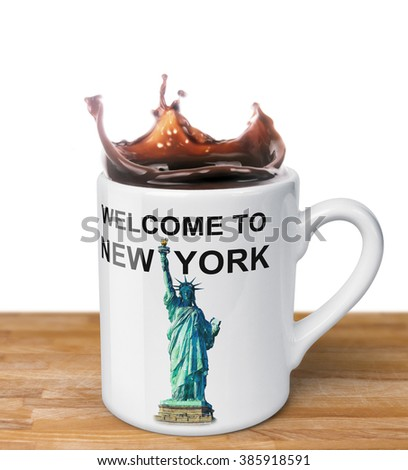 Welcome to New York - coffee mug with illustration of a Statue of Liberty. Your message on top and left side of the mug. - stock photo