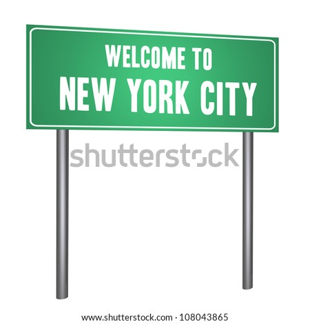 Welcome to New York on the road sign isolated on withe - stock photo