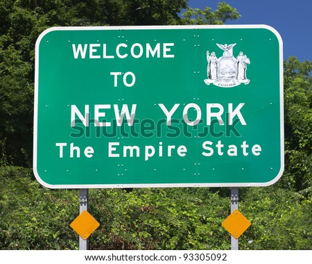 Welcome to New York road sign - stock photo