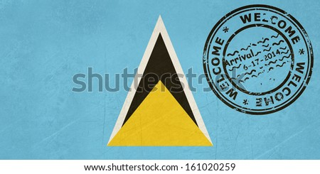 Welcome to Santa Lucia flag with passport stamp