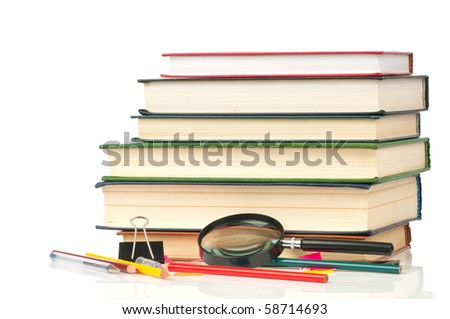 Welcome to school.Book heap and color pencils isolated on white background. Concept - stock photo