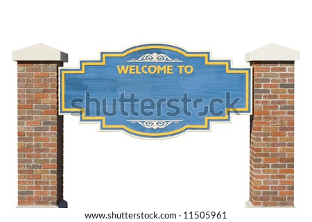 Welcome To Sign Isolated with Blank Copy Area - stock photo