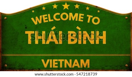 Welcome to THAI BINH VIETNAM highway road sign.