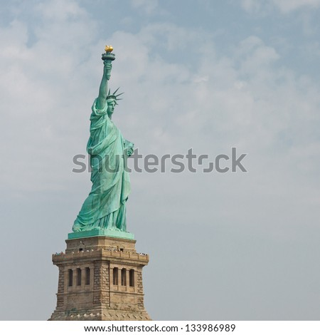Welcome to the Land of the Free - The Statue of Liberty in New York - stock photo