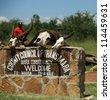 Welcome to the Mara Triangle sign Kenya Africa - stock photo