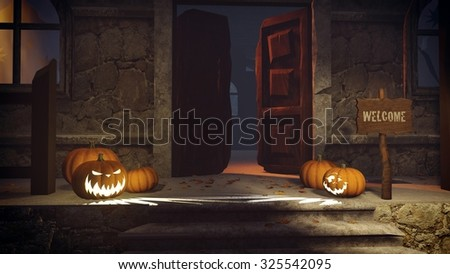 Welcome to the spooky house. Halloween pumpkins and Welcome sign on the porch of the gloomy house at night. Realistic 3D illustration was done from my own 3D rendering file. - stock photo