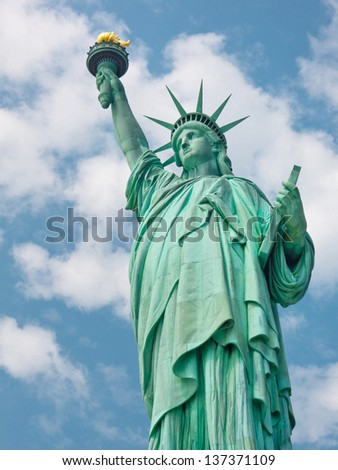 Welcome to the United States - The Statue of Liberty in New York - stock photo