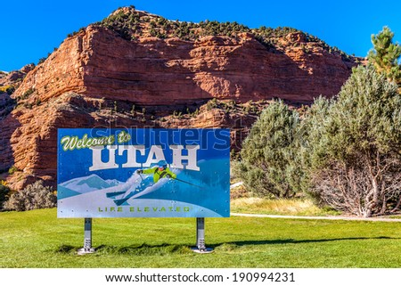 Welcome to Utah sign - stock photo