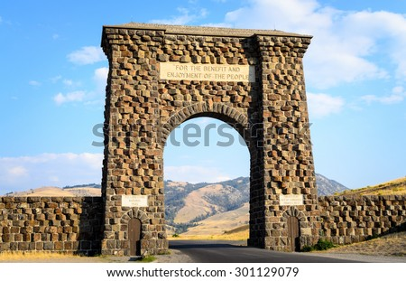 Welcome to Yellowstone Gate, Yellowstone National Park - stock photo