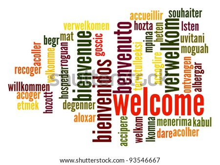 Welcome word cloud in different languages - stock photo