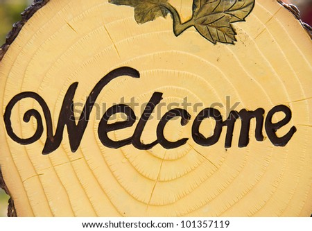 Welcome word on wood signboard - stock photo