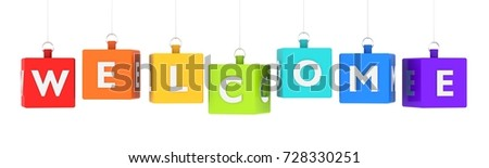 Welcome word text on glossy colored cubes hanging on white background 3D render