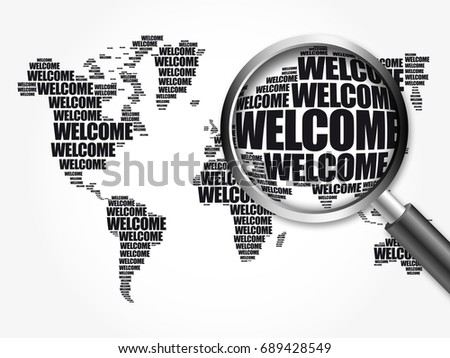 Ecology theme world map typography word stock illustration 690878515 welcome world map in typography word cloud with magnifying glass business conceptual background 3d illustration sciox Images