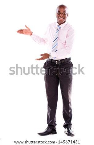 Welcoming business man looking happy - isolated over white background - stock photo