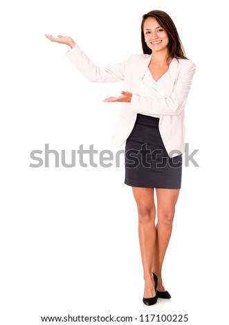 Welcoming business woman - isolated over a white background - stock photo