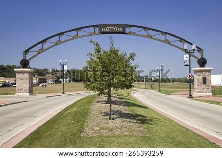 Welcoming Gate to Falls Park, Sioux Falls, South Dakota - stock photo