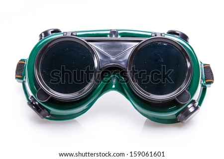 welded protective spectacles on white background isolated, close up